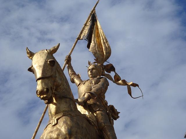 Jeanne D'arc, Statue, Heroine, Saint, Horseback, Horse