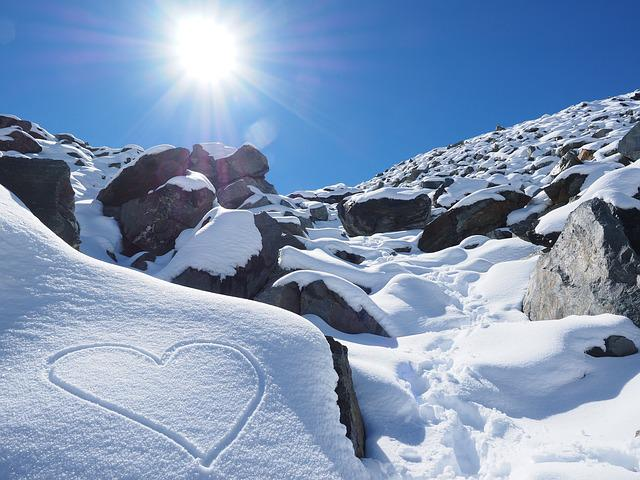 Sun, Snow, Heart, Herzchen, Stones, Mountains, Hiking