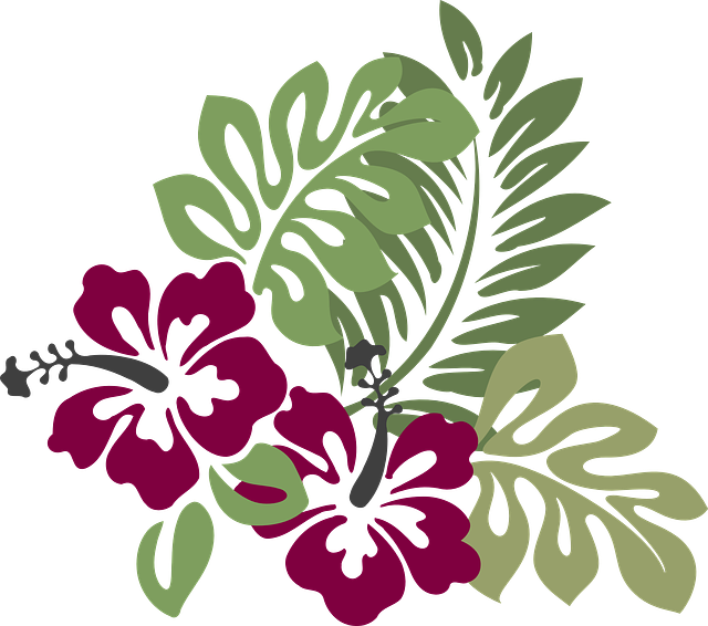 Hibiscus, Burgundy, Foliage, Decoration, Floral