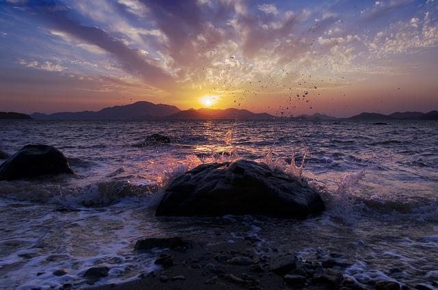 Sunset, The Sea, Shoals, Silhouette, High Contrast
