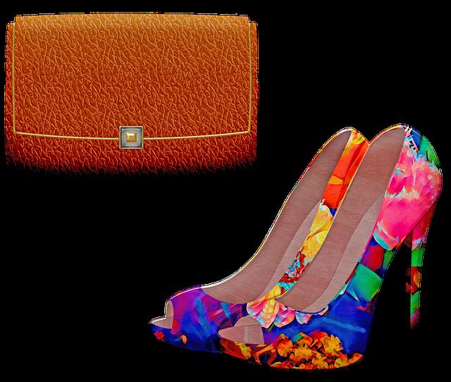 High Heel Shoes, Purse, Colorful, Leather, Handbag