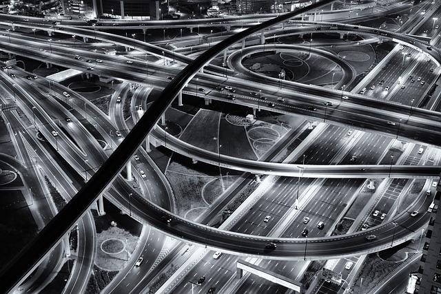 Road, Night, Monochrome, Highway, Light, City