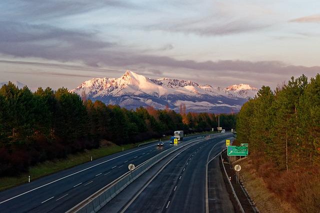 Kriváň, Mountains, Snow, Highway, Cars, Path, Asphalt