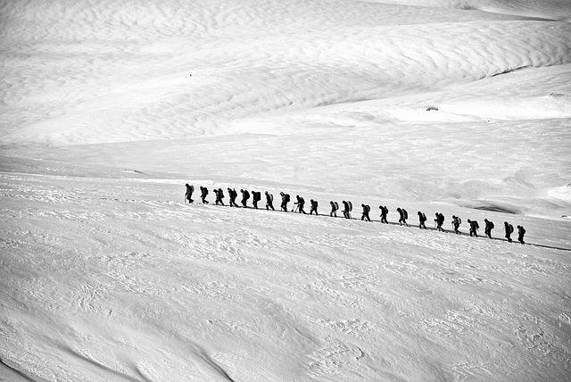 Trekking, Hiking, Group, Alpine, Line, People