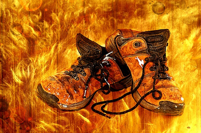 Shoes, Old, Flame, Wood, Hiking Shoes, Hiking, Leather