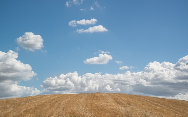 Hill, Blue Sky, Clouds, Sky, Blue, Nature, Green