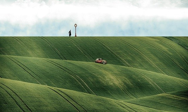 Fantasy, Hills, Nature, Fields, Car, Auto, Travel