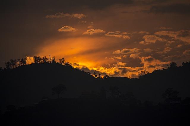 Hills, Sunset, Clouds, Sky, Nature, Twilight, Dusk