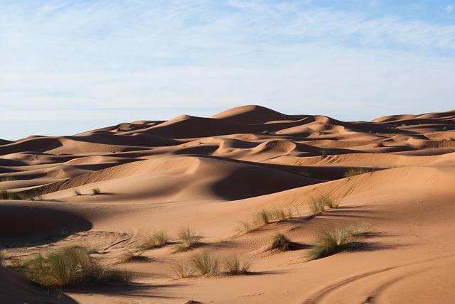 Desert, Dunes, Sand, Sky, Grass, Hills, Wallpaper