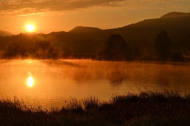 Sunrise, Pond, Hills, Water, Nature, Haze, Brown Nature