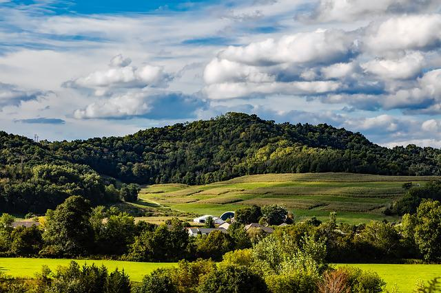 Wisconsin, Hills, Sky, Clouds, Farm, Rural, Rustic