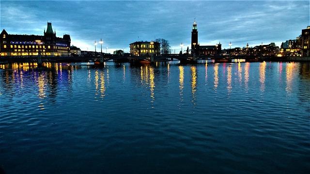 Stockholm, Water, Horizon, Himmel, Still, Mirroring