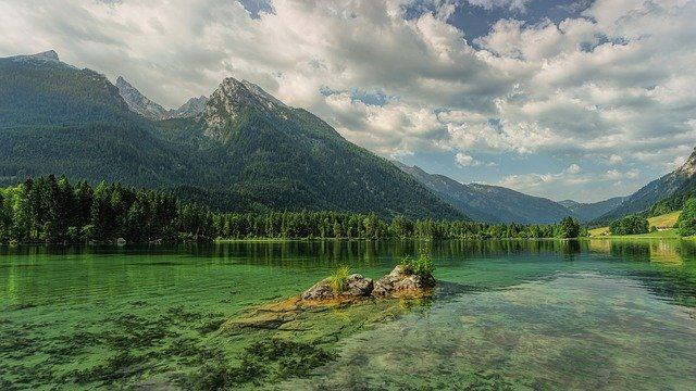 Hintersee, Bergsee, Mountains, Ramsau, Alpine, Clouds