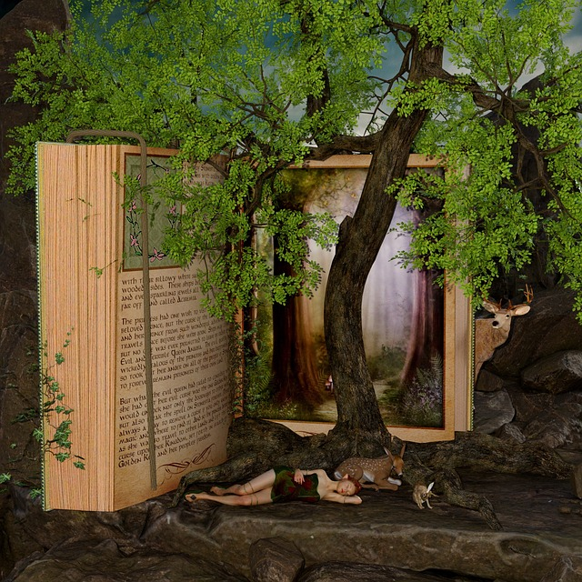 Book, Landscape, Fairy Tales, Tree, Elf, Hirsch