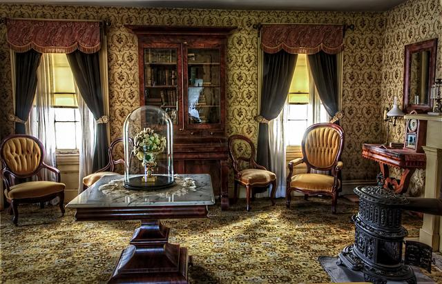 Living Room, Victorian, Historic, Vintage, Building