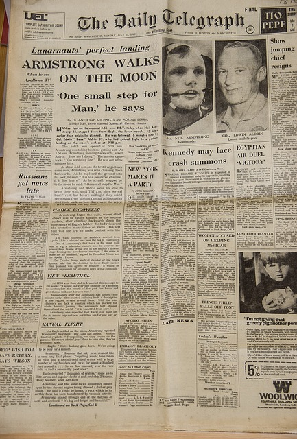 Newspaper, Historic, First, Moon, Landing, Armstrong