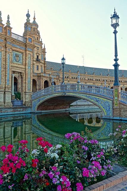 Plaza De Espania, Palace, Flowers, Seville, Historic