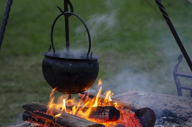 Fire, Pot, Historical, Reenactment, Cauldron, Flame