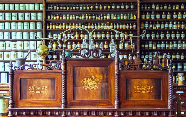 Pharmacy, Counter, Medical, Historical Pharmacy Counter