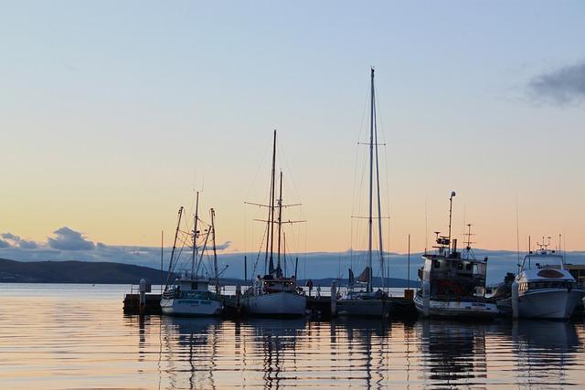 Hobart, Harbor, Sunrise, Boat, Sail, Tasmania, Water