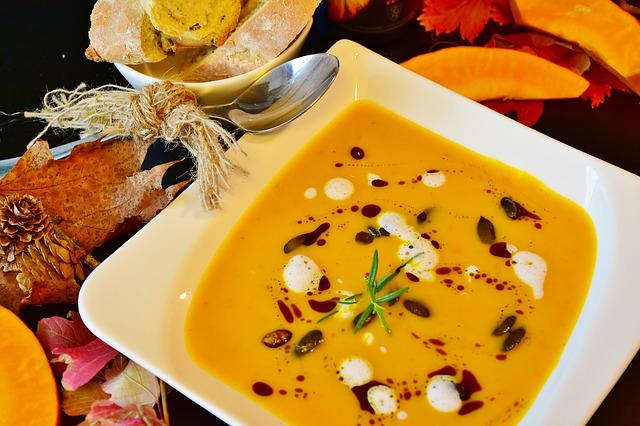 Pumpkin Soup, Hokkaido, Autumn, Orange, Plate, Eat