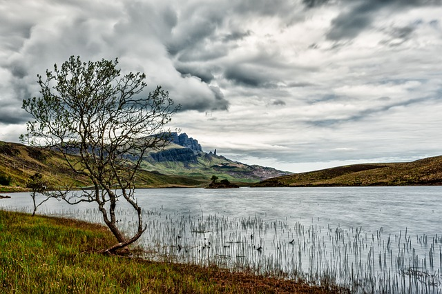 Sky, Clouds, Tree, Waters, Lake, Hole, Scotland