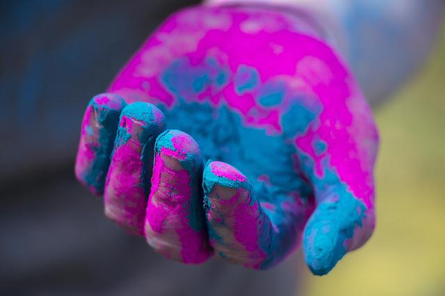 Hand, Rang Barse, Holi, Color, Pink, Powder, Pigment