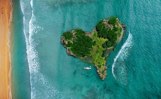 Island, Heart, Ocean, Lagoon, Beach, Sea, Holiday