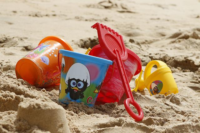 Bucket, Toys, Sand, Beach, Ocean, Vacation, Holidays