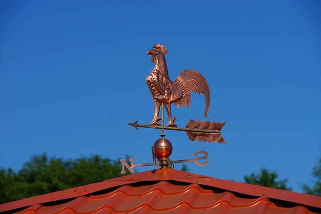 Roof, Home, Weather Vane, Copper, Eye Catcher, Shiny