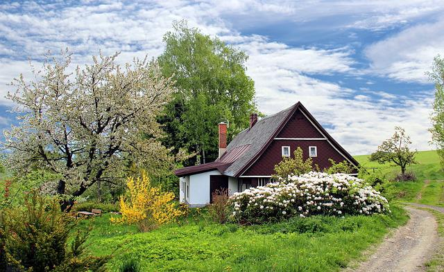 Spring, Cottage, House, Home, Garden, Grass, Landscape