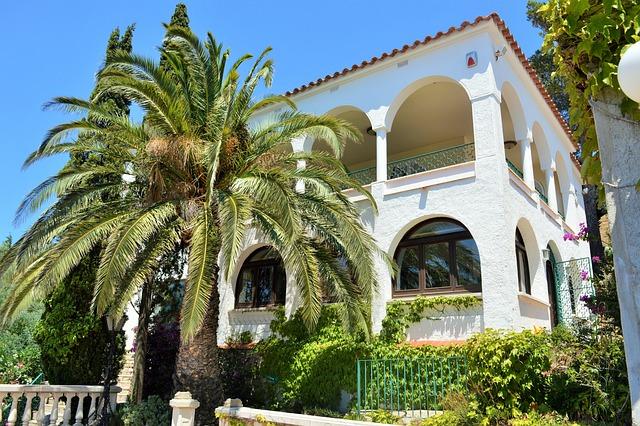 Holiday, Spain, Palm, Home, Sky, Blue, Green, Garden