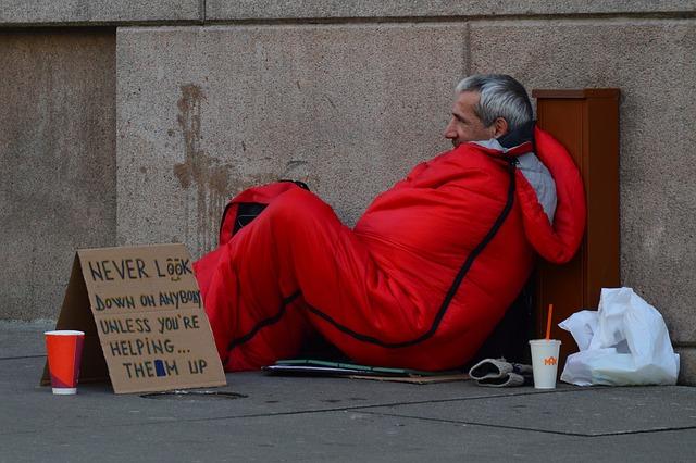 Homeless Man, Homeless, Advice, Orange Clothes, Sign
