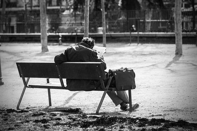 Man On A Bench, Park, Reading The Newspaper, Homeless