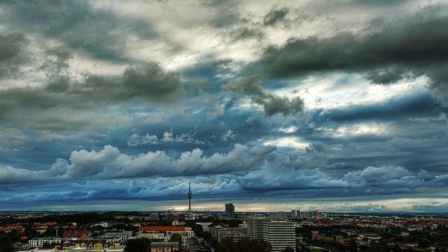 Clouds, City, Panorama, Sky, Homes, Skyline, View