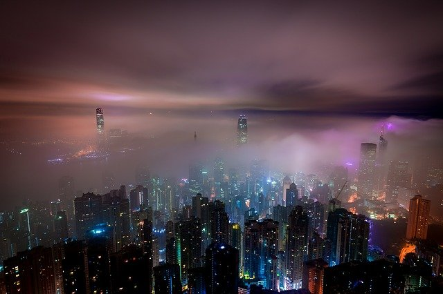 Clouds, Hong Kong, Night, Mist, Haze, Skyscrapers, City