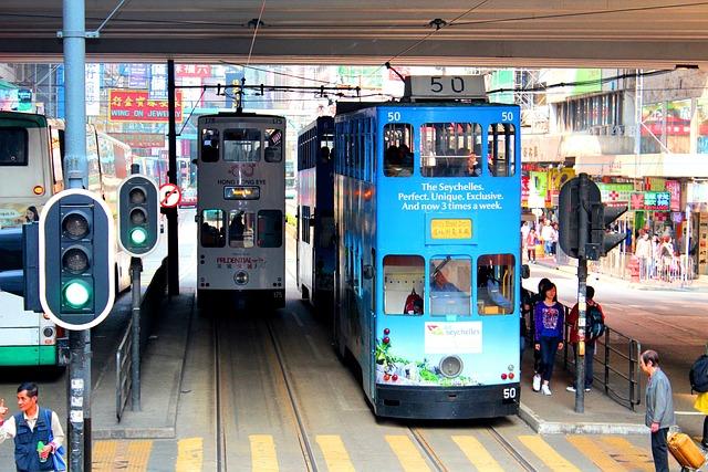 Hong Kong, Tram, Road, Transport, Photography, Street