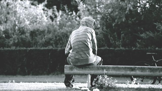 Bench, Hood, Male, Man, Outdoors, Park, Person