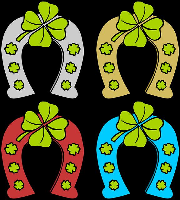 Horse Shoes, Shoe, Hoof, Iron, Metal, Clover Leaves