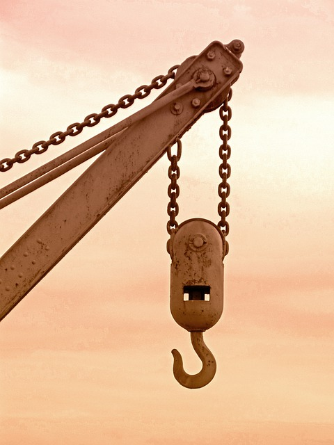 Crane, Hook, Pulley, Old, Rusty, String