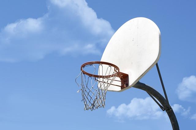 Ball, Basketball, Blue, Clouds, Hoop, Net, Rim, Sky
