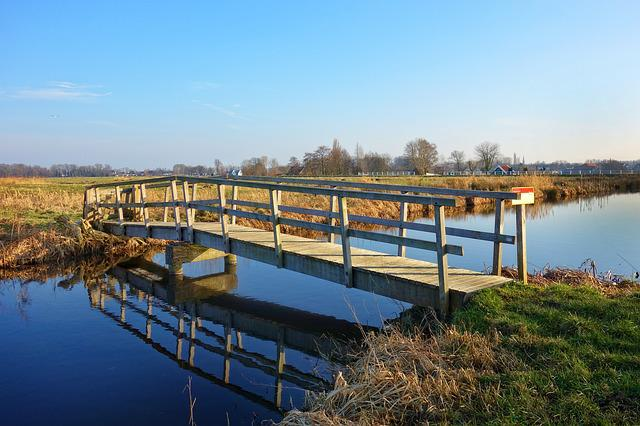 Waterway, Stream, Footbridge, Bridge, Horizon, Skyline