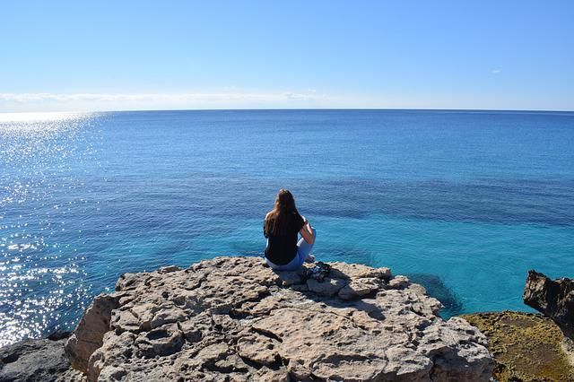 Girl, Gazing, Sea, Landscape, Nature, Coast, Horizon
