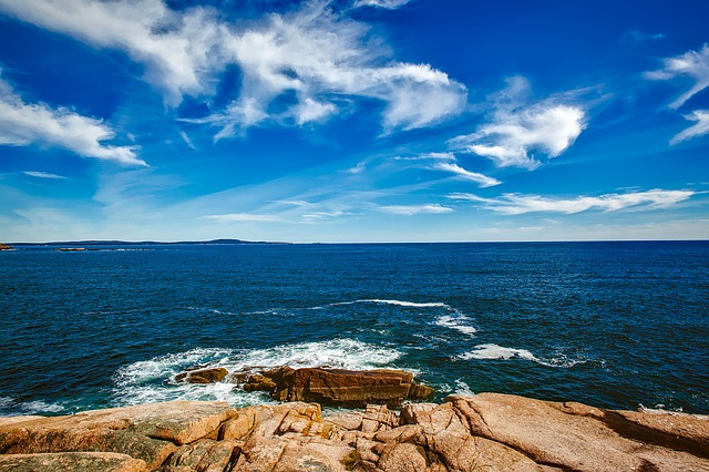 Bar Harbor, Maine, Sky, Clouds, Sea, Ocean, Horizon