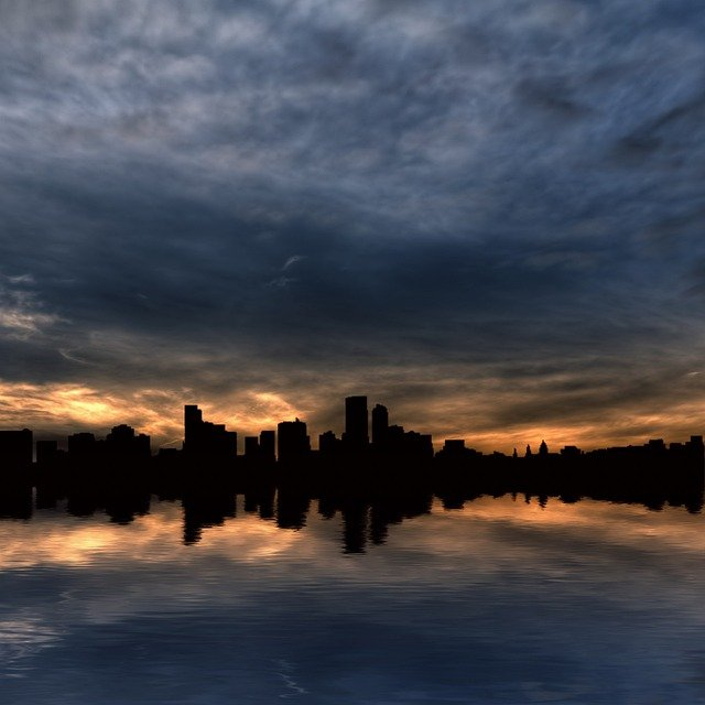 Skyline, Skyscrapers, City, Water, Horizon, Sunrise