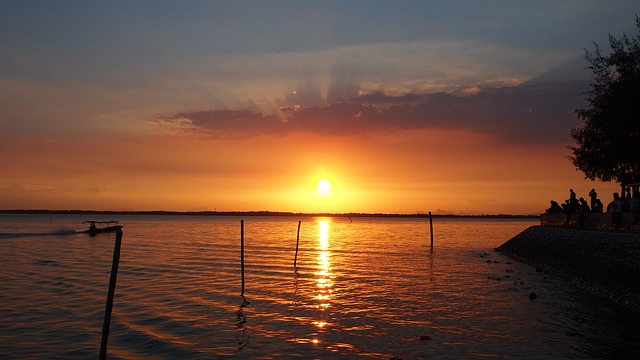 Don Hoi Lot, Evening, Sunset, Horizon, Shadow, People
