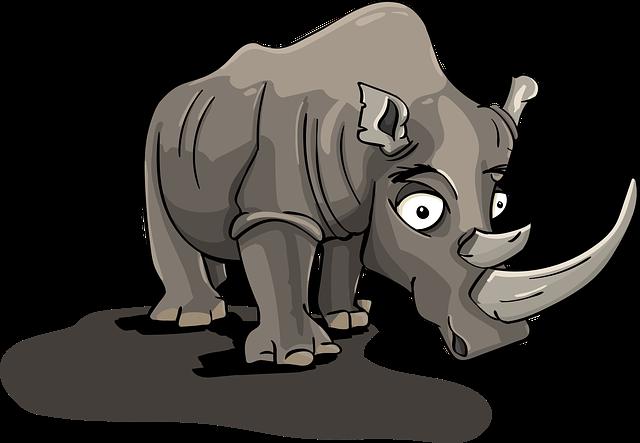 Rhino, Horn, Cartoon, Character, Animal, Brontothere