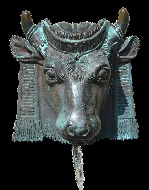 Fountain, Bull, Horns, Enema, Water, Ray, Bronze