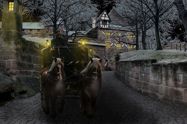 Winter, Coach, Castle, Cold, Surreal, Horses, Night