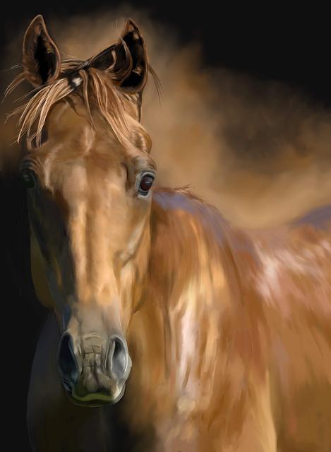 Horse, Horses, Pony, Head, Chestnut Horse, Painting